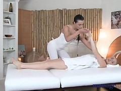 Lesbian;Teen;Blonde;Black-haired;Small Tits;Caucasian;Big Ass;Romantic;Massage;HD