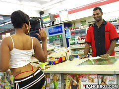 This week on Brown Bunnies, we meet this girl named Persuajon at the convenience round the corner from my crib. This girl was a freak! She was pulling her titties out in the checkout line and shaking her ass for the cashier. So naturally I scooped her up. She wanted to be an actress and we told her we was having an industry party. Once we got her there things really got freaky. Next thing you know she was getting down and dirty taking a dip in the lube pool. All that oil just glistened of that juicy booty! Pursuajon is thick as fuck with a nice frame on her. I'm talking about a nice pair of tits, a juicy phat ass, and a tight plump pussy. And Ethan had no problem giving her a good fucking that ended up in the bedroom. Check this shit out!